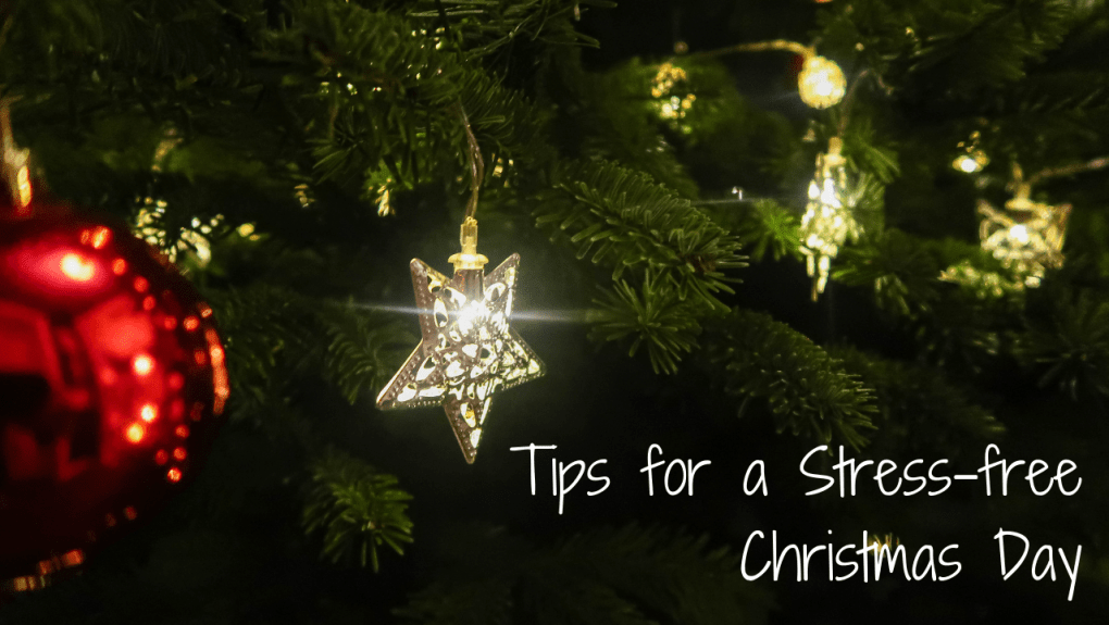 Tips for a Stress-free Christmas Day - blog post header - a christmas tree lights