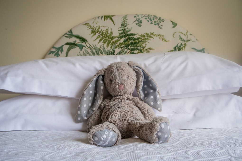 Snuggle bunny ready for bed in Curlew Cottage