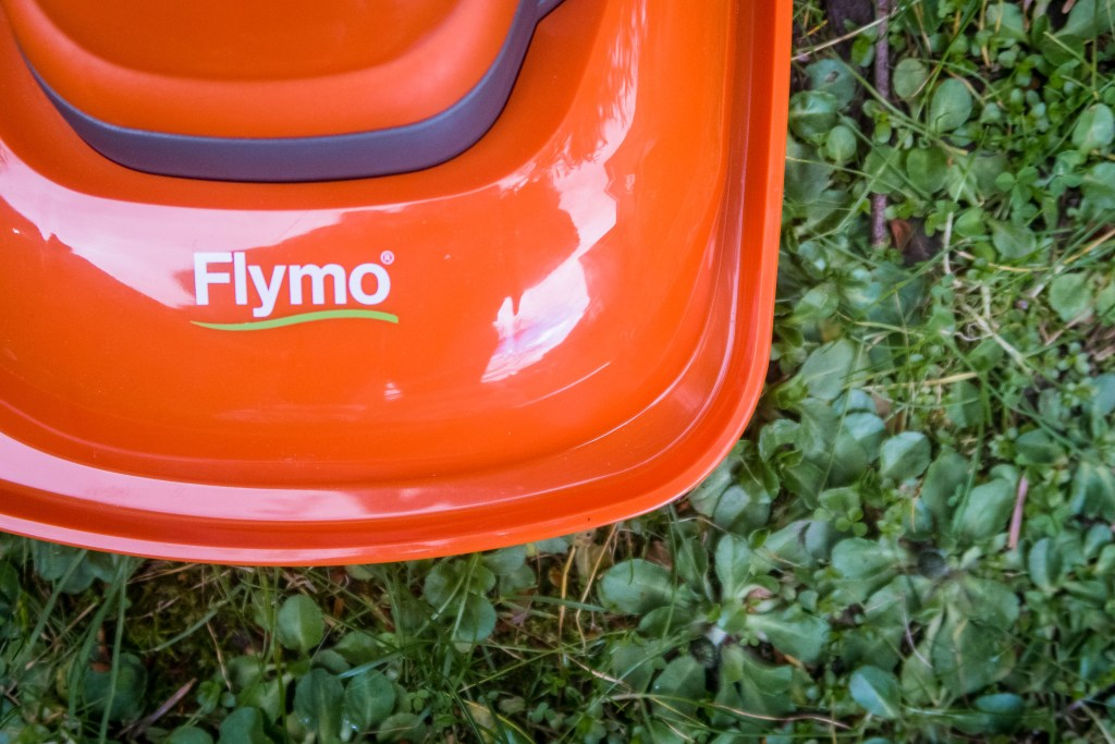 Close up of the Flymo logo