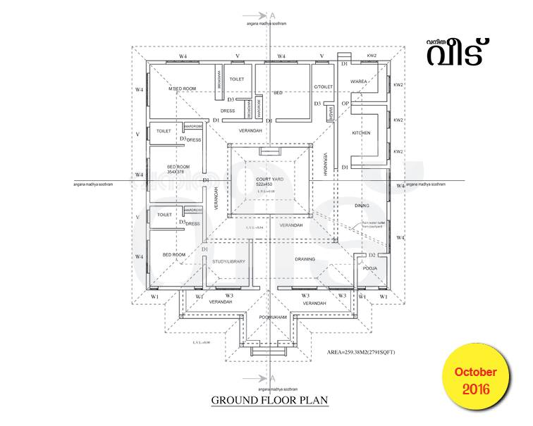 2791 Square Feet 3 Attached Bedroom Kerala Vasthu