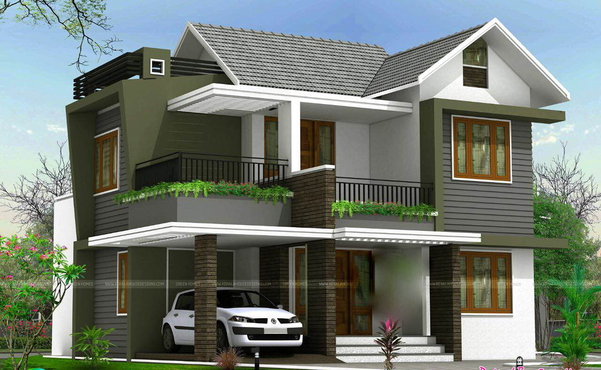 1738 Square Feet 4 Bedroom Double Floor Sloping Roof Home
