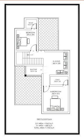 1750 Square Feet 4 Bedroom Double Floor New Modern Home