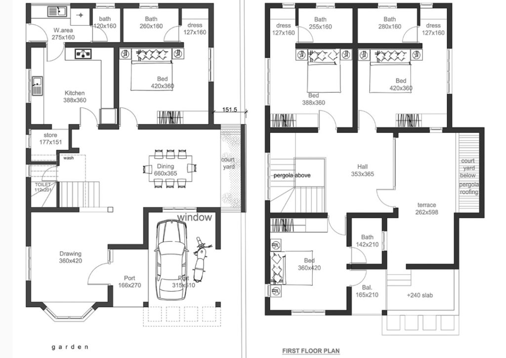 2400 Square Feet 4 Bedroom Double Floor Home Design and