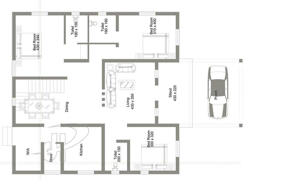 1250 Square Feet 3 Bedroom Contemporary Single Floor