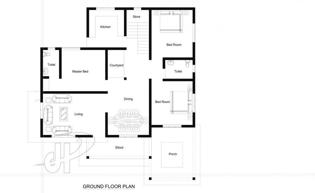 1237 Square Feet 3 Bedroom Single Floor Contemporary Style