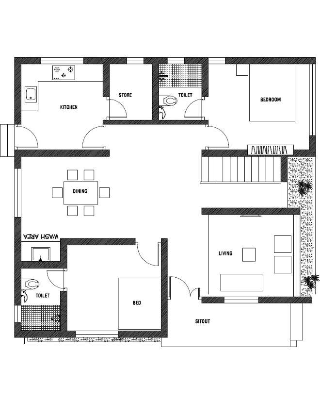 1200 Square Feet 2 Bedroom Single Floor Contemporary Style
