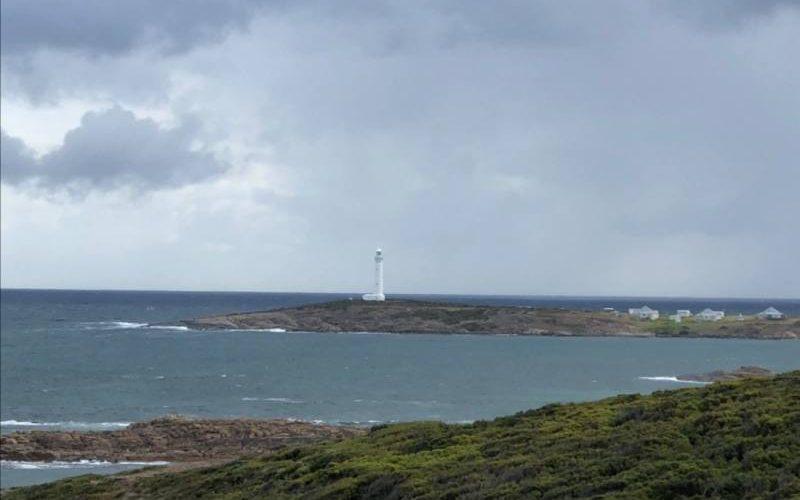 Punto panoramico con vista faro di Cape Leeuwin a Margaret River