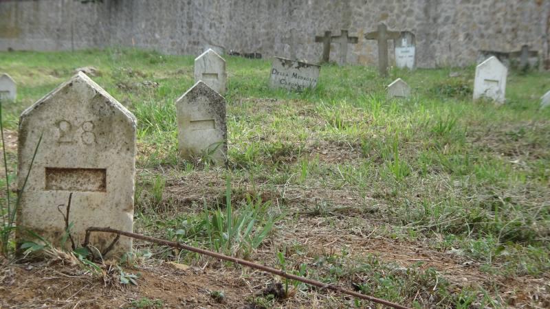 Lapidi con numero nel cimitero San Finocchi dell'ex manicomio di Volterra