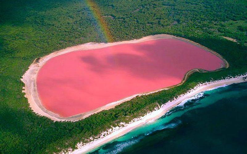 Lake Hillier, il lago rosa di Esperance, visto dall'alto
