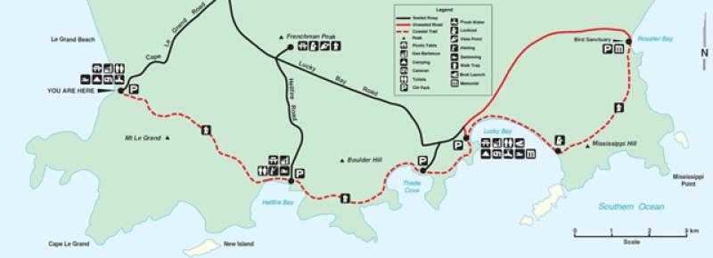 Mappa del Parco Nazionale Cape Le Grand di Esperance