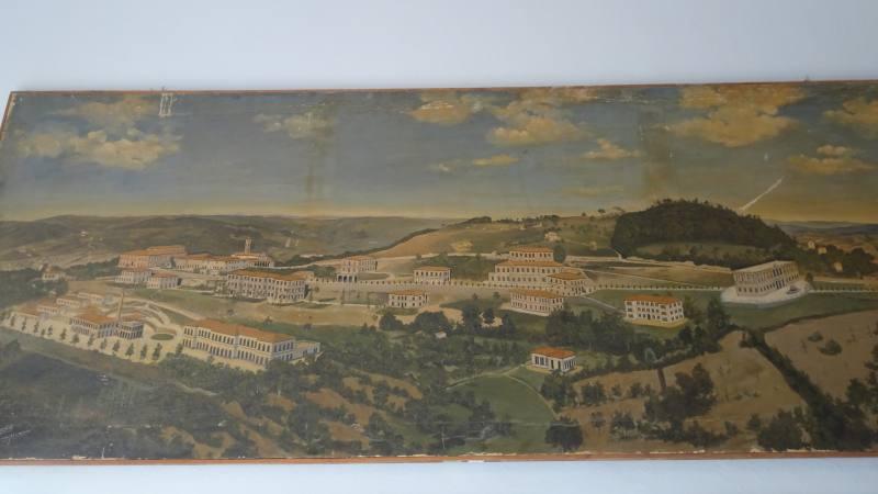 Quadro foto panoramica dell'ex manicomio di Volterra nel museo