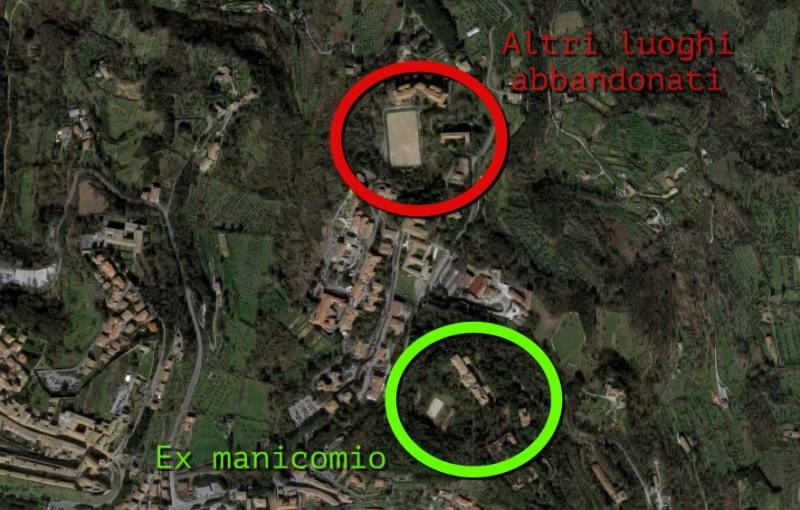Immagine Google Maps per capire distanza tra ex manicomio di Volterra e altri luoghi abbandonati