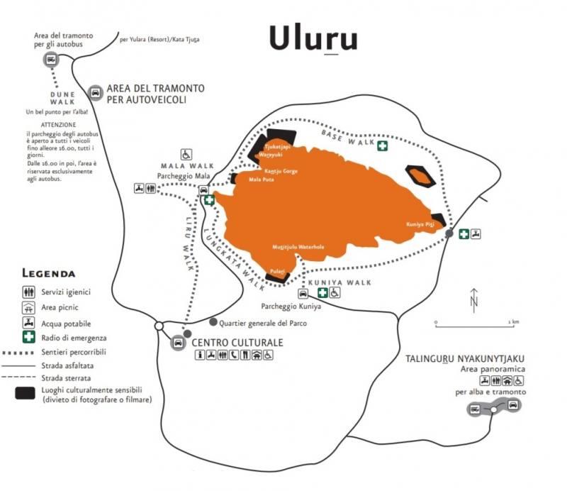 Mappa dei percorsi e dei punti panoramici di Uluru in Australia