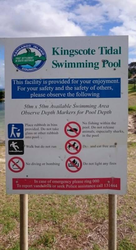 Cartello piscina naturale Kingscote con divieto di buttare squali in acqua
