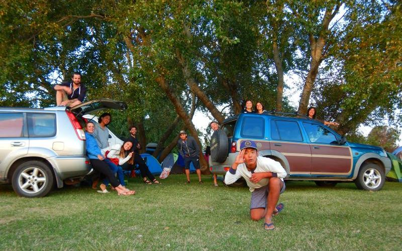 Foto di gruppo nel campeggio di Devonport in Tasmania