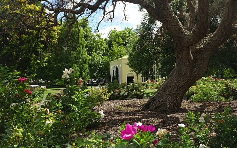 Edifici e tanto verde all'interno del giardino botanico di City Park di Launceston in Tasmania