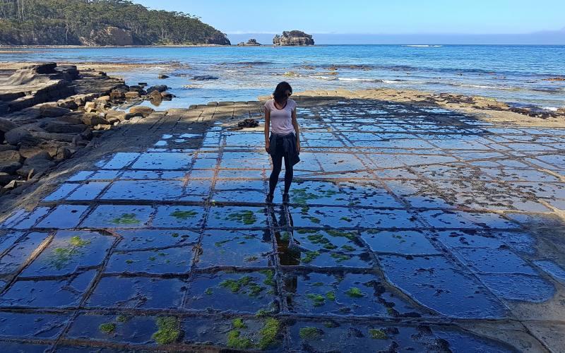 """Foto riflessa nella particolare spiaggia tassellata """"Tessellated Pavement"""" nella Tasman Peninsula in Tasmania"""