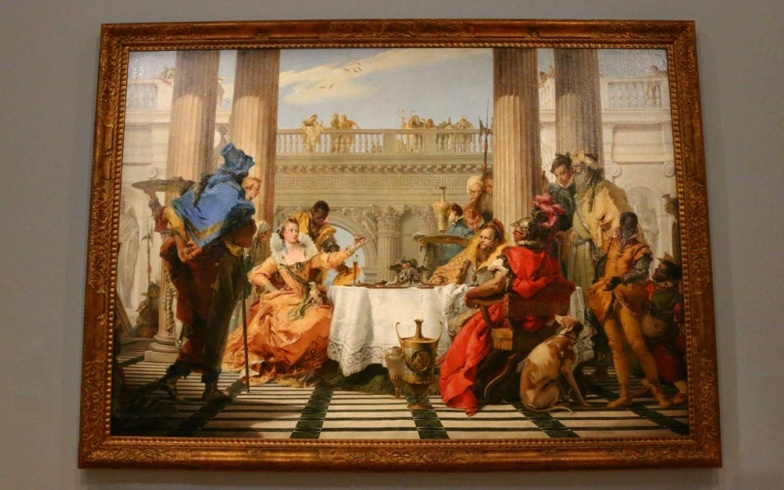 """Il banchetto di Cleopatra"", quadro di Tiepolo all'interno del museo NGV International di Melbourne"