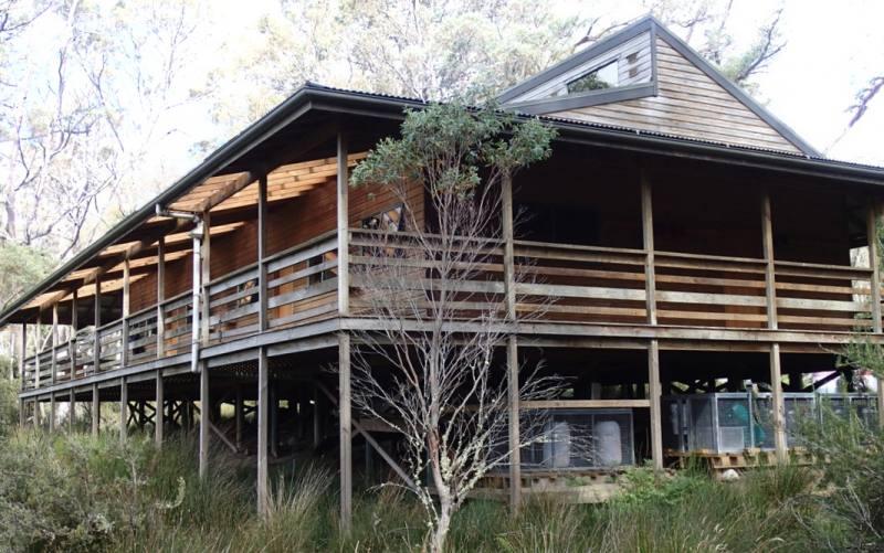 Rifugio Pelion Hut durante percorso di trekking Overland Track in Tasmania