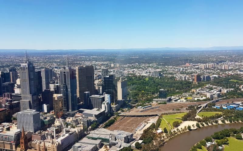Vista panoramica di Melbourne dal grattacielo Eureka Skydeck 88