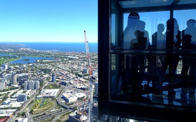 """Vista panoramico con il """"The Edge"""" dallo Skydeck 88, il grattacielo visitabile più alto di Melbourne"""