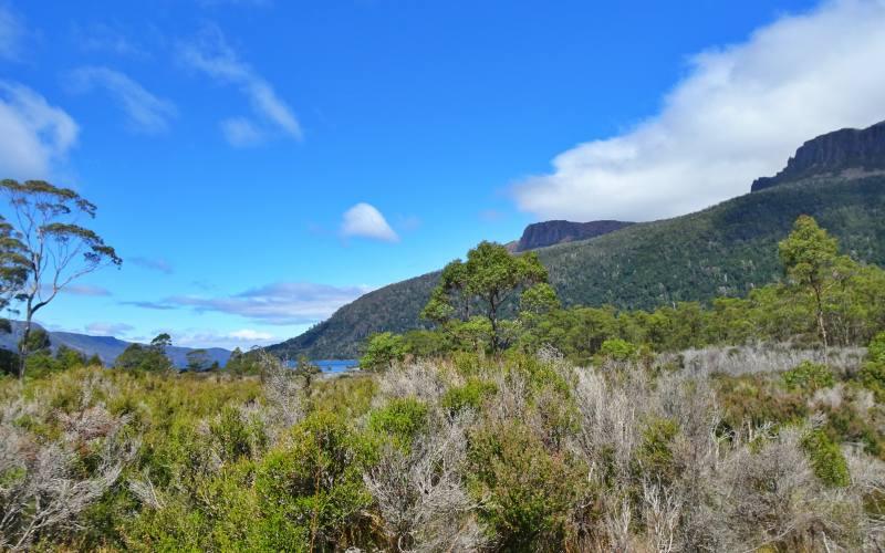 Vista di montagne e Lake St Clair durante l'Overland Track in 7 giorni in Tasmania