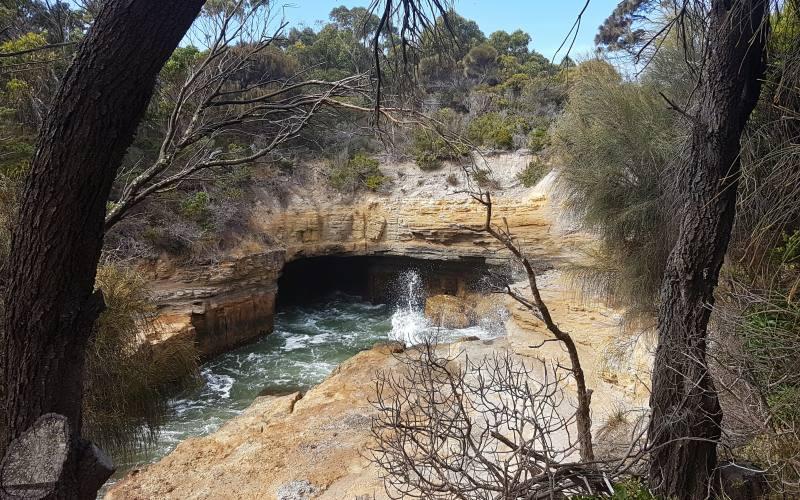 """Attrazione naturale """"Blowhole"""" all'interno della Tasman Peninsula"""