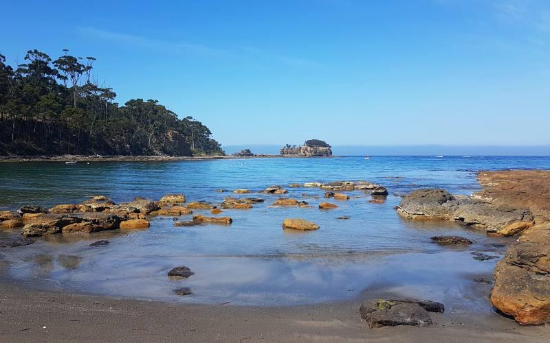 Spiaggia vicino al Tessellated Pavement della Tasman Peninsula