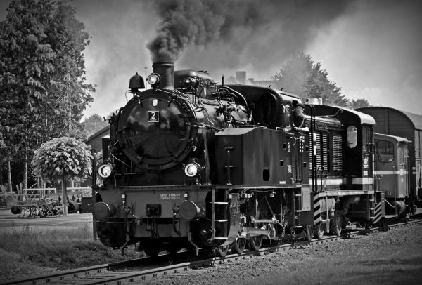 Black and White Steam Train