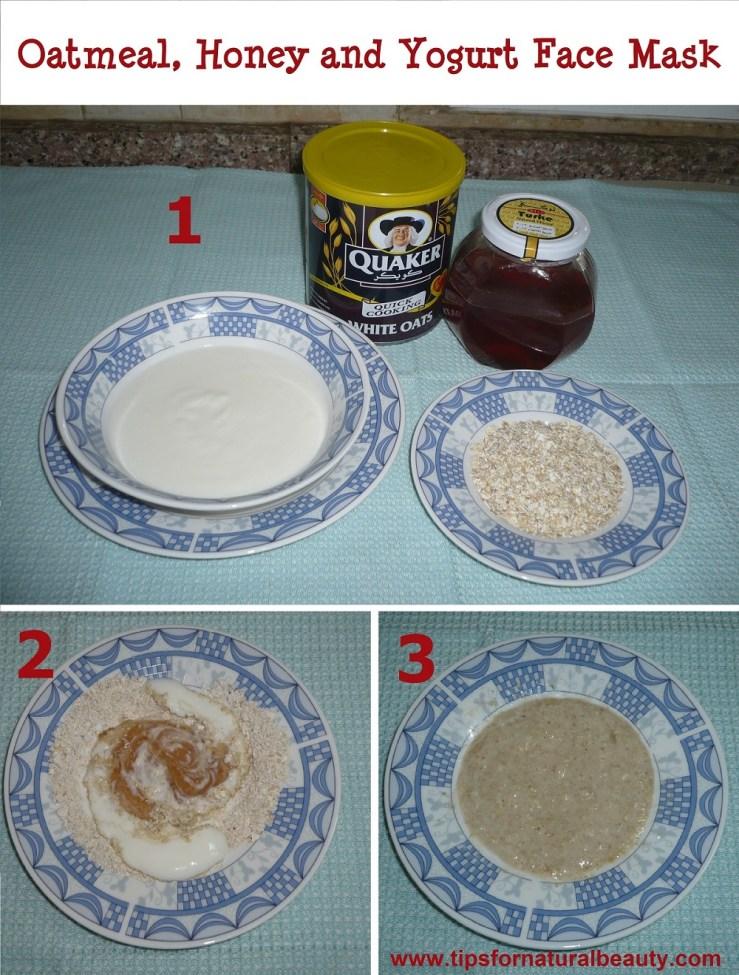 Oatmeal, honey and yogurt face mask