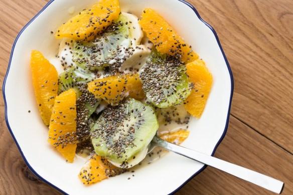Chia seeds fruits salad