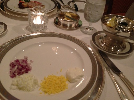 Caviar in Queens Grill on Cunard Queen Mary 2