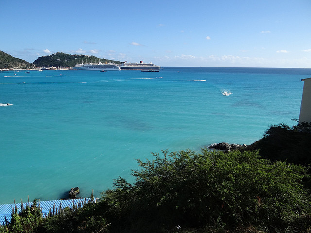 Queen Mary 2 and other cruise ships docked in St Maarten Caribbean