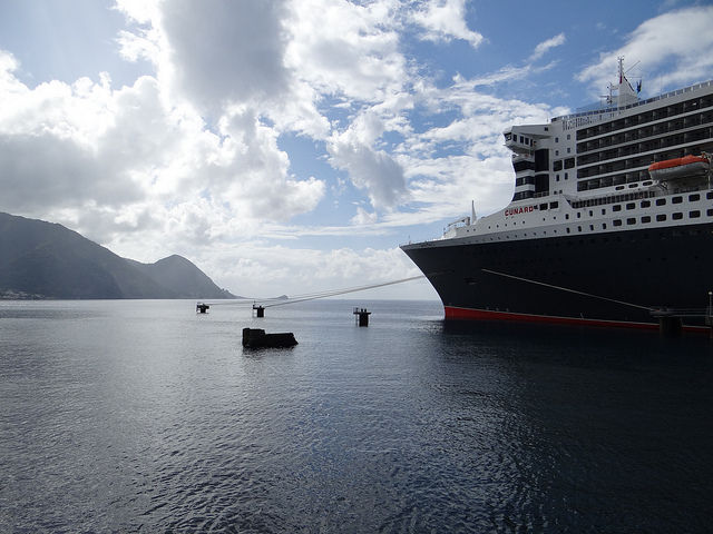 Queen Mary 2 docked in Roseau Dominica Caribbean