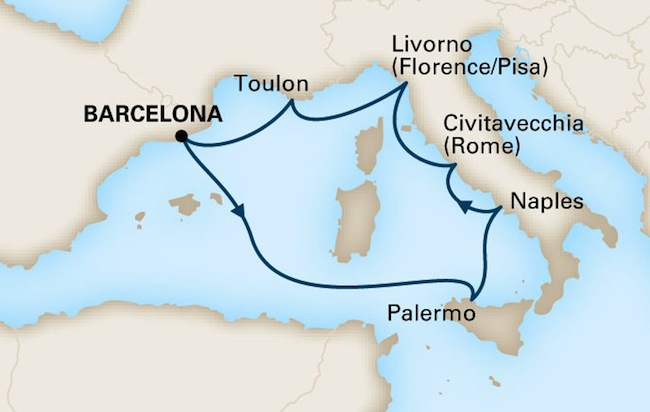 Holland America 7 Night Mediterranean Adventure Route