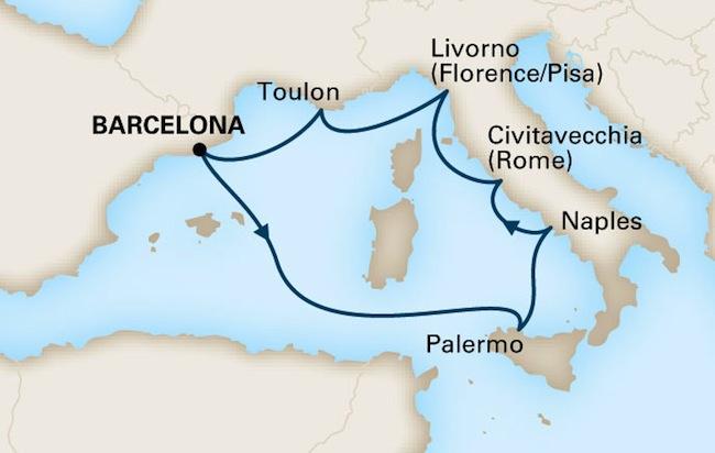 Holland America 7 Night Mediterranean Adventure Route