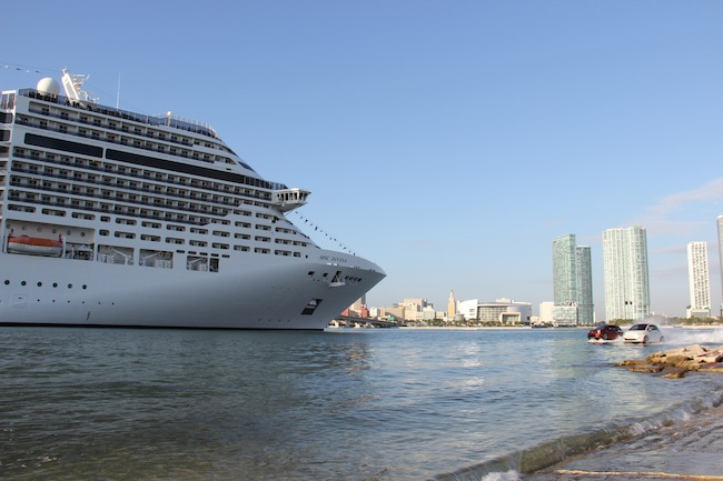 MSC Divian glides gracefully into Miami, while a clutch of Fiat 500 cars buzzed around her in the water