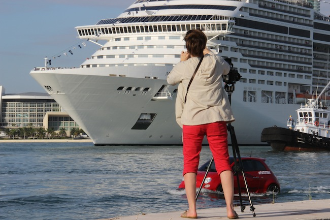 Press photographers, MSC Divina and Fiat 500 #FiatAtSea Miami - trying to decide what was best to focus on taking pictures of!