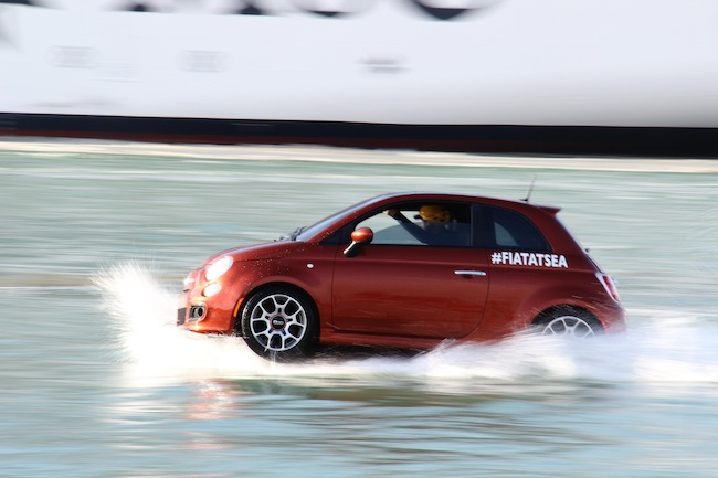 #FiatAtSea Fiat 500s racing around the MSC DIvina in Miami