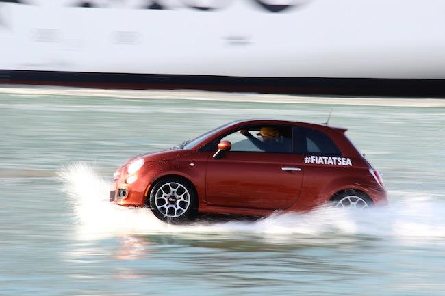 #FiatAtSea Fiat 500s racing around the MSC DIvina in Miami