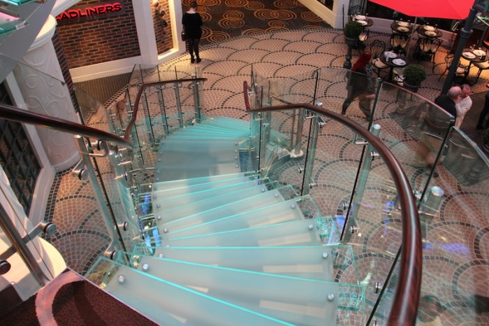 Norwegian Getaway Cruise Ship Glass Staircases that go from Deck Eight to Deck Six