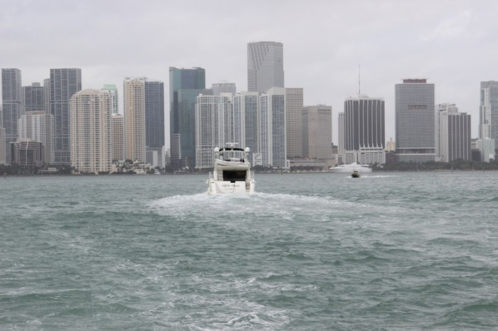 Miami as seen from the sea. A modern downtown area with tall skyscapers.