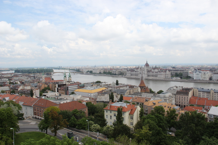 Budapest seen from Castle Hill area looking across to the Pest side and Houses of Parliament