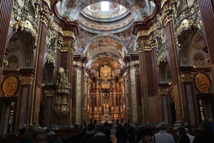 Inside Melk Monastery Abbey - very rich Baroque style
