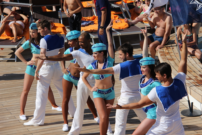 MSC Lirica dancers performed a welcome show sailing out of Marseilles