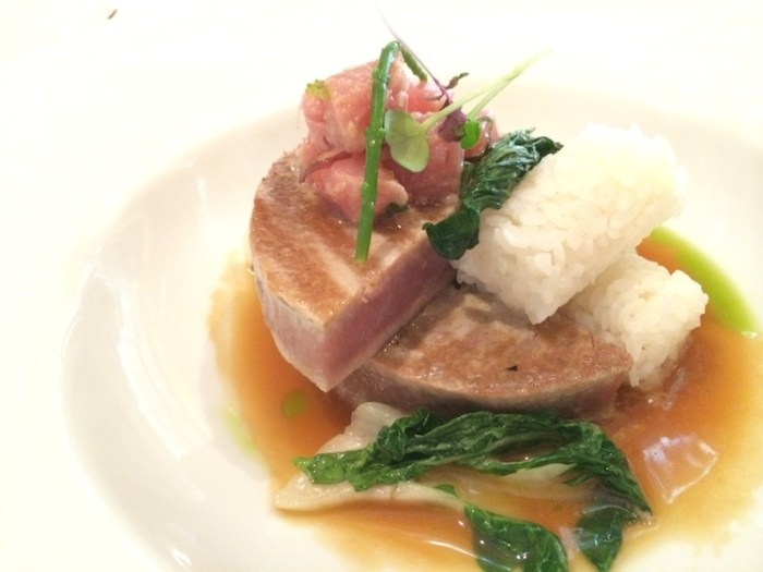 Crystal Cruise Dish: Grilled Tuna, Tuna Poke, Japanese Rice & Apple Cider, Baby Bok Choy