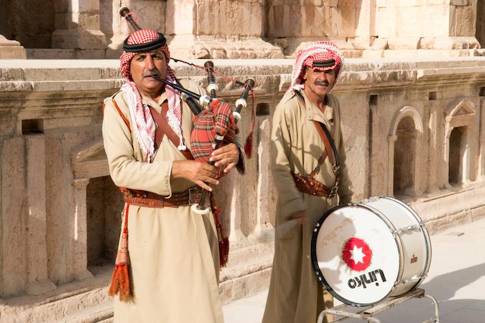 Bagpiper and drummer Amphitheatre Jerash Jordan