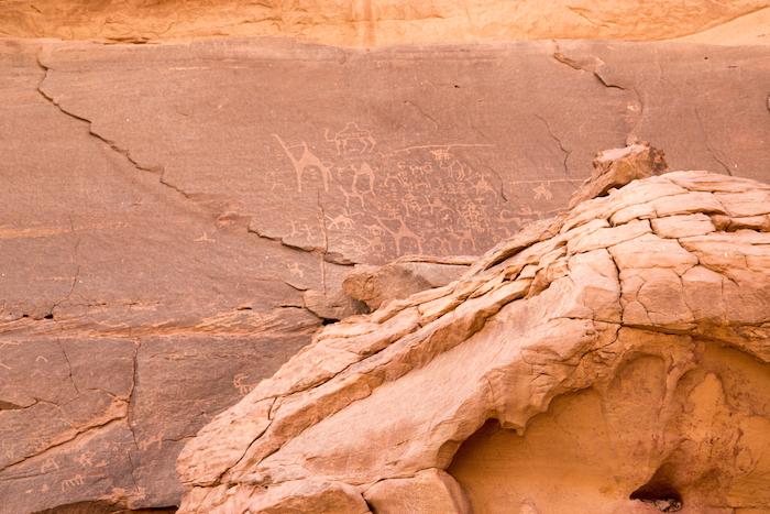 Rock Paintings Wadi Rum Desert Jordan