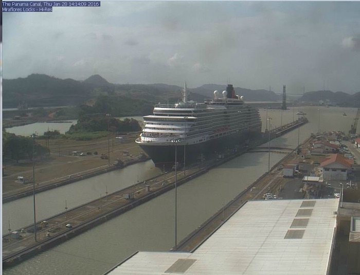 Panama Canal Webcam of Queen Victoria in the Panama Canal