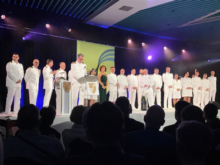 Officers of Seabourn Sojourn and Seabourn Encore at Seabourn Encore Naming Singapore